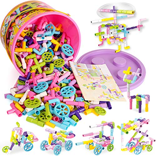 STEM Toys, Pipe Toys for Kids, 250 Pieces Creative Tube Locks Construction Set with Wheels & Storage Box, Best Preschool Learning Educational Building Block Gift for Boys and Girls Aged 3+ Multicolor