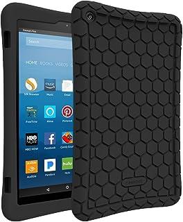 Fintie シリコン ケース for Fire HD 8 タブレット Amazon Fire HD 8 (第7世代、第8世代) 用カバー バンパ 軽量 耐衝撃 防滑 脱着簡単 ソフト シリコーン保護カバー(ブラック)