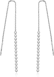 925 Sterling Silver Oblate Bead Long Chain Tassel Threader Drop Earrings, Wrap Line Earrings For Women