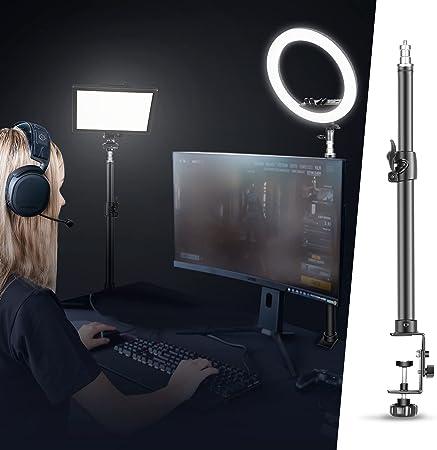 Neewer Soporte de Luz de Mesa con Clip con Tornillo de 1/4 Pulgada para Anillo de Luz y Luz LED Aleación Aluminio Capacidad de Carga 5KG Ajustable 55-120cm para Transmisión en Vivo Grabación de Video