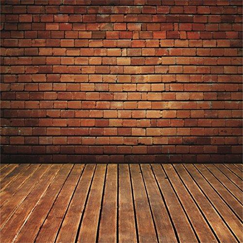 YongFoto 3x3m Foto Hintergrund Alter Raum mit Brown Backstein Weinlese Innenraum und hölzernem Boden Ziegel Fotografie Hintergrund Photo Booth Erwachsene Kinder persönliche Portrait Studio Requisiten