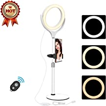 Selfie Ring Light Kit, Dimmable Bluetooth Remote Control,with Phone Holder, for Phone Camera YouTube Makeup Video, Compatible for Android & iOS (8