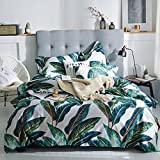 MKXI Home Duvet Cover Set Zipper Closure Vintage Print Quilt Cover Set White King Green Tropical Leaves Pattern Reversible Cotton Luxury Bedding Collection