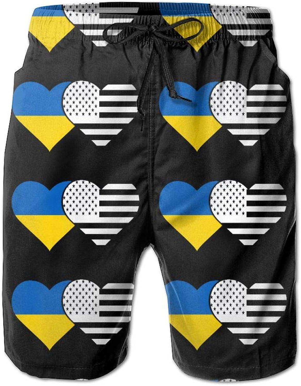 SESY Men's 3D Printing Ukraine Flag American Flag Beach Shorts Casual Shorts