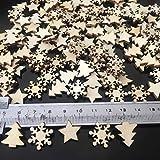 ZesNice Streudeko Weihnachten, 200 Stücke Holzsterne Blank Holz Scheiben Mini Verschönerungen für Handwerk Making DIY - 3