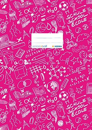 HERMA 19409 Heftumschlag DIN A4 SCHOOLYDOO, mit Beschriftungsetikett, aus strapazierfähiger und abwischbarer Polypropylen-Folie, 1 Heftschoner für Schulhefte, pink