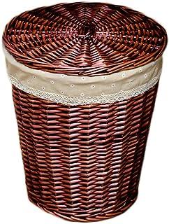 LINGZHIGAN Rond avec couvercle panier à linge rotin coton lin doublure panier sale vêtements divers panier de rangement (C...