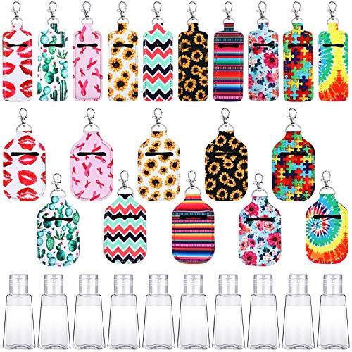 30 Pieces Hand Sanitizer Holders Colorful Travel Bottles Keychain Holder...