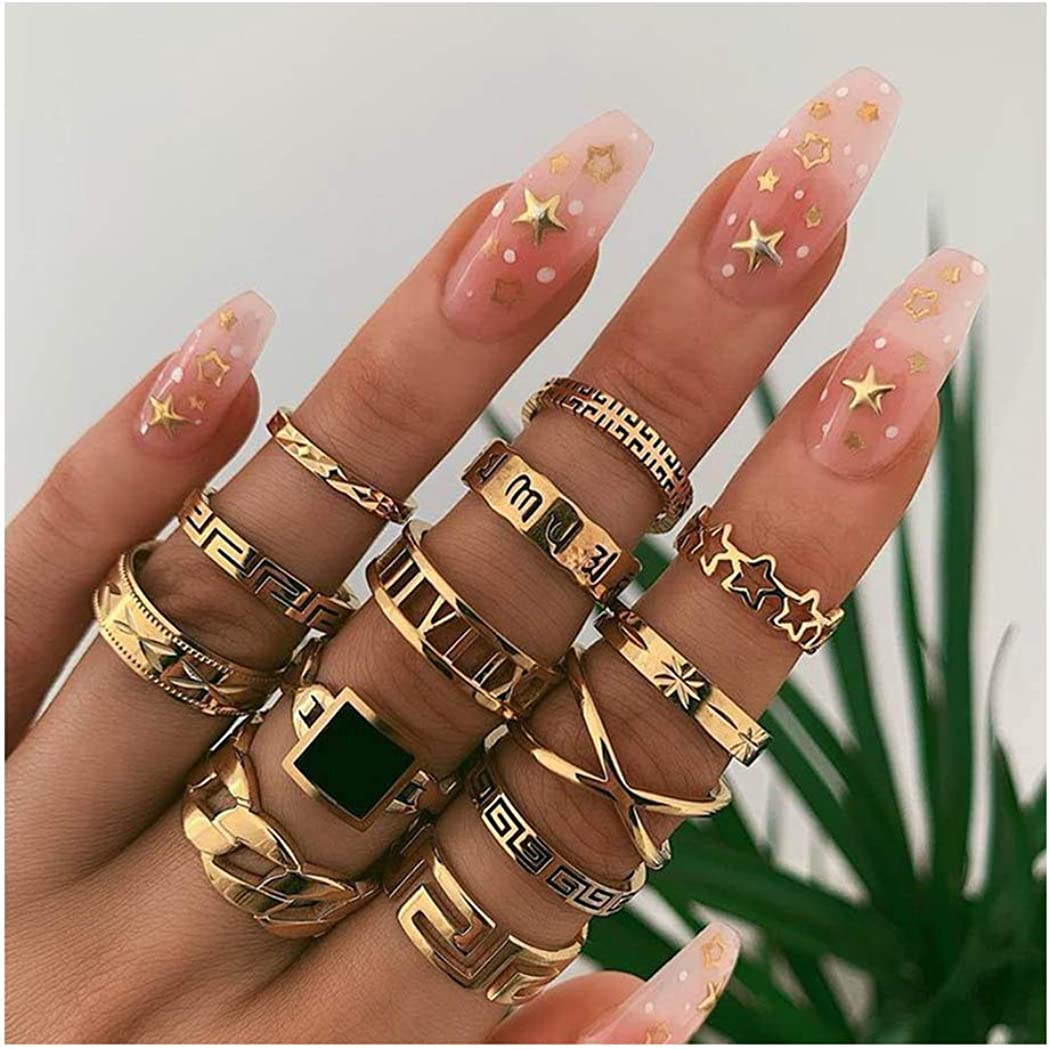 Yokawe Boho Joint Knuckle Ring Set Gold Vintage Carved Star Stacking Midi Finger Rings Gem Ring Sets with Cresent for Women and Girls (13 PCS)