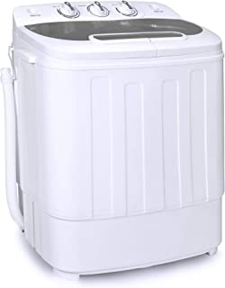 Best Choice Products Portable Compact Mini Twin Tub Laundry Washing Machine and Spin Cycle Dryer w/Hose, 13lbs Load Capacity, Built-In Drain - White/Gray