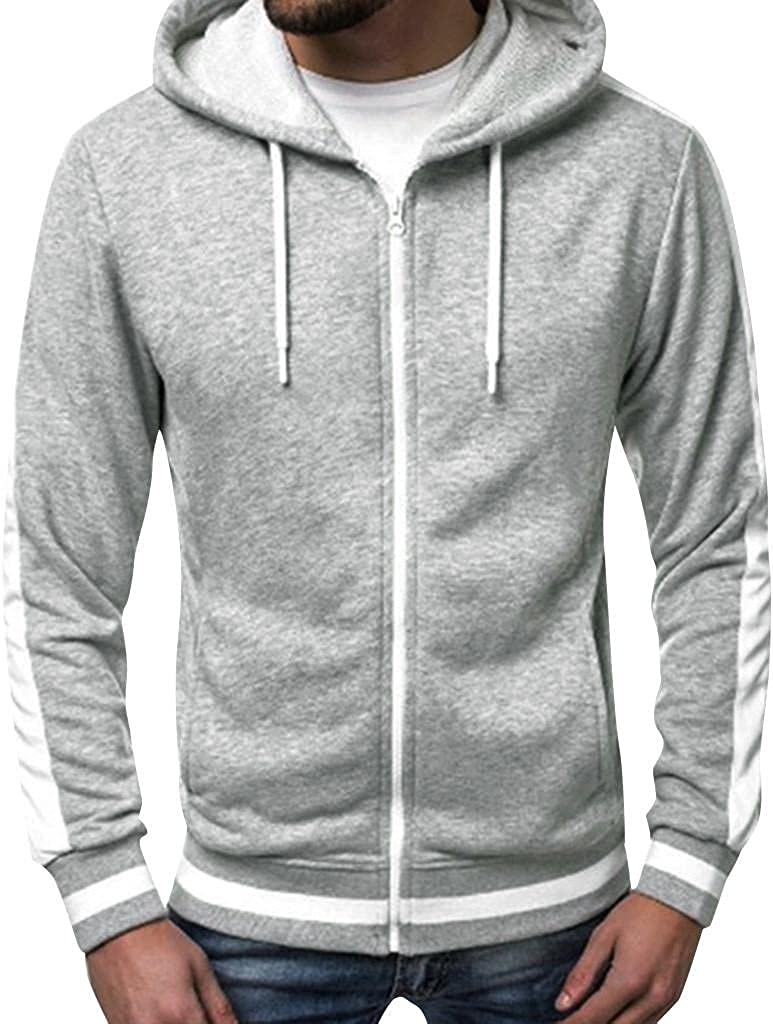 Qsctys Men's Zip Up Hooded Sweatshirts Hoodies Shirts Zipper Casual Long Sleeve Lightweight Jackets Outdoor Sports Fitness
