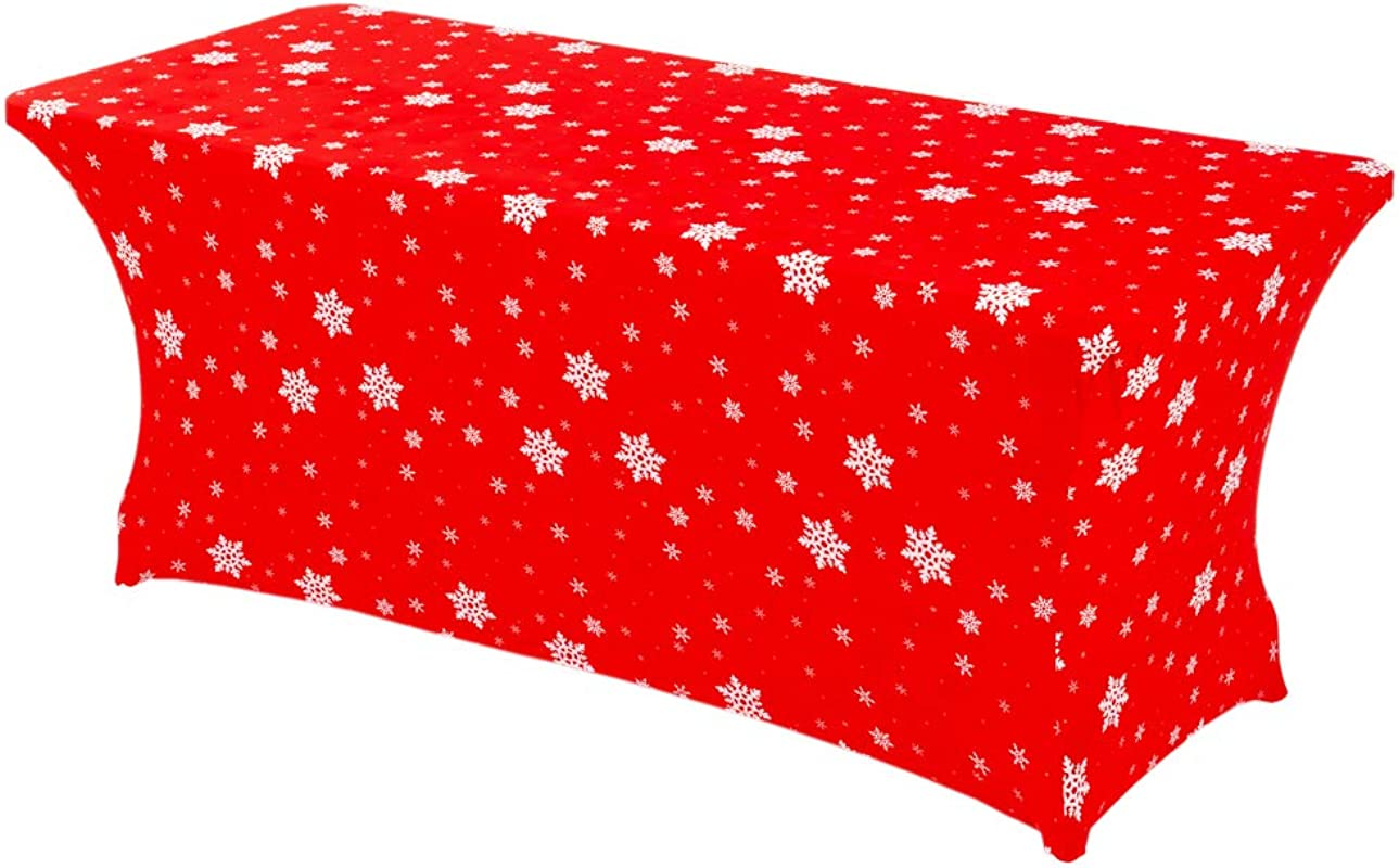 Haorui Christmas 6 Ft Rectangular Spandex Print Table Cover Fitted Stretch Tight Tablecloth Red
