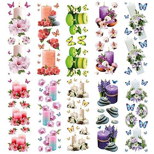 Transparent-Sticker, 10 Bogen à 10cm x 30cm | Bunte Aufkleber zum Basteln & Dekorieren (Dekorative Kerzen)