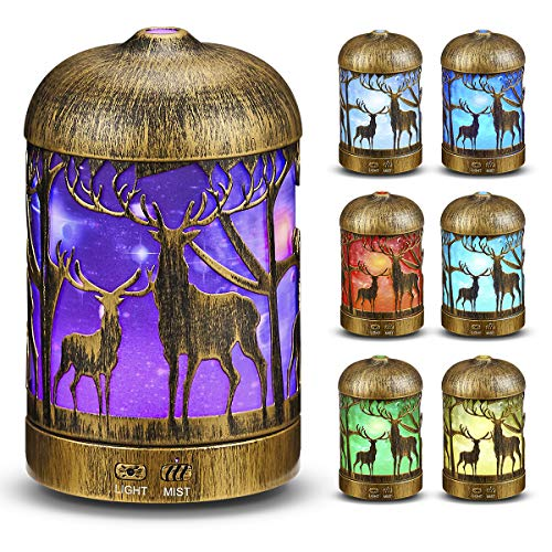 Essential Oil Diffuser 200ML Elk hollow carved aromatherapy humidifier Easy to Use Super Quiet Essential Oil Diffuser, Aromatherapy Diffuser with Waterless Auto Shut-Off, for Home Office.
