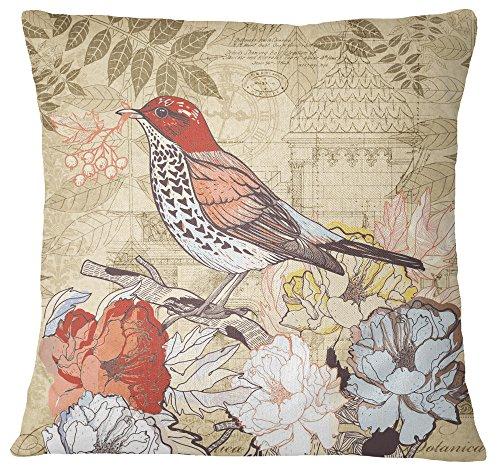 S4Sassy Multicouleur Bird & imprimé Floral Coussin décoratif boîtier carré Housse de Coussin Throw - Choisir la Taille