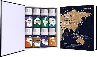 Benatu Top 8 Essential Oils Set, Organic Aromatherapy Kit for Diffuser - Lavender, Tea Tree, Peppermint, Lemongrass, Rosemary, Orange, Bergamot, Frankincense 10ml