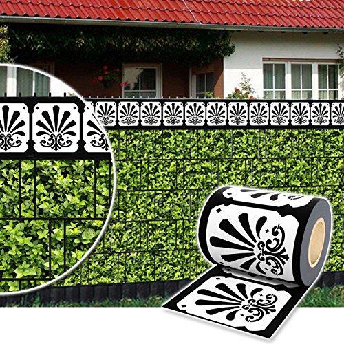 Plantiflex Sichtschutz Rolle 35m Blickdicht PVC Zaunfolie Windschutz für Doppelstabmatten Zaun (Zierstreifen-Ornament)