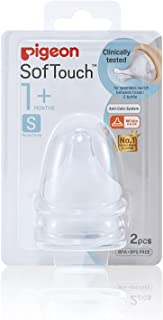Pigeon SofTouch Peristaltic PLUS Teat for 1+ Months Babies, (S), BPA & BPS-Free, 2-Pack
