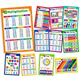 11 Educational Math Posters - Multiplication Chart Table, Place Value Chart, Money Poster, Shapes Poster,...