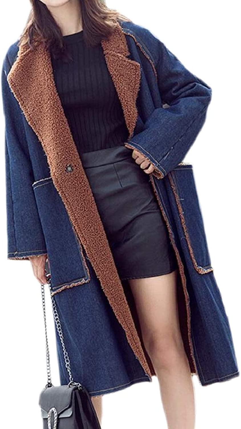 LKCENCA Women's Winter Fleece Lined PlusSize Long Denim Parkas Coats