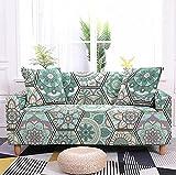 Fundas para Sofa Funda de Sofá Patrón Marroquí Verde Antideslizante Funda Sofá Jacquard Funda Elástica Protector de Muebles Lavable Antiácaros Antiarrugas