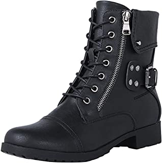 〓COOlCC〓Women Winter Lace up Military Mid Calf Combat Boots, Round Toe Side Zipper Buckle Martin Riding Boots Ankle Boots