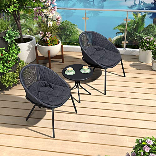 PURPLE LEAF 3 Pieces Patio Bistro Set with Weather Resistant Steel Frame and Circular Table Conversation Set, Cushions Included, Gray