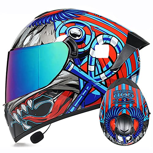 Letetexi Casco Moto Integral ECE Homologado Bluetooth Integrado Casco Modular Moto con Doble Niebla Visera Casco de Motocicleta Scooter Built In MP3 Radio para Mujer Hombre 55~62cm