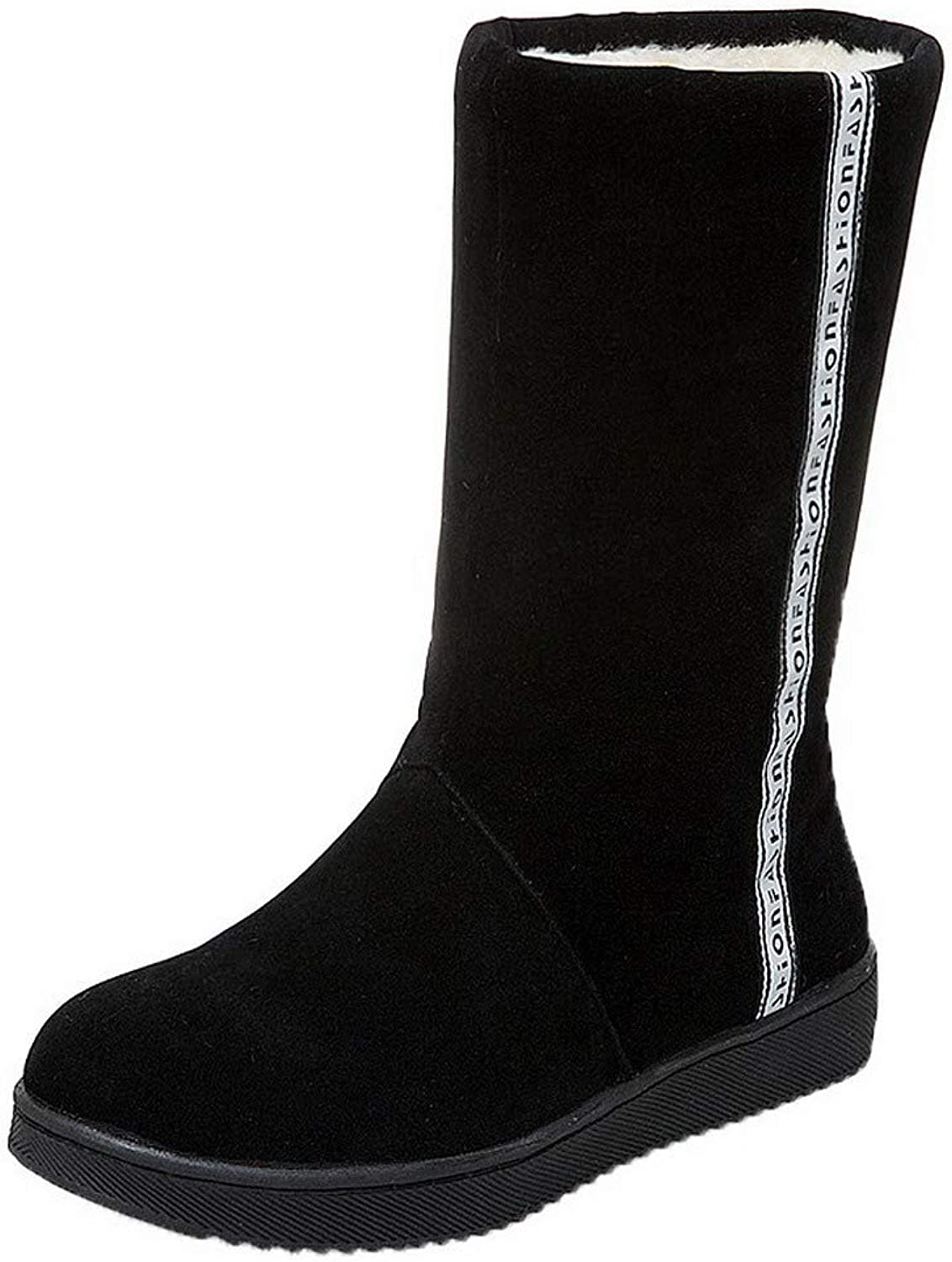 WeiPoot Women's Solid Frosted Low-Heels Pull-On Round-Toe Boots, EGHXG096463
