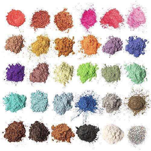 MENNYO Poudre de Mica, Colorant de Savon 30 Couleurs (5g), Pigments Résine Époxy Poudre en Mica + Poudre de Paillettes pour Bougies, Bombe de Bain, Slime, Maquillage, Vernis à Ongles, Peinture