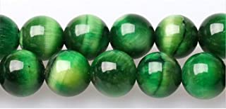 JARTC Rare Collection Natural Stone Beads Green Tigereye Round Loose Beads for Jewelry Making DIY Bracelet Necklace (10mm)