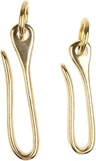 FITYLE 2Pcs Brass Key Ring Fish U Hook Belt Wallet Clip Holder Leather Accessory
