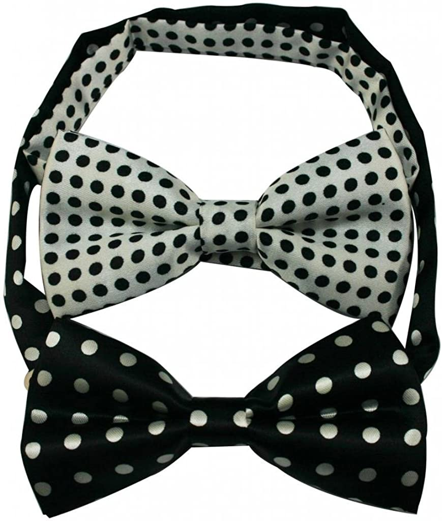 Generic Mens' Polyester Bow Tie Assorted White and Black Dots(Pack Of 2)