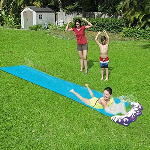 Lawn Water Slides Slip and Slide for Kids Lawn Garden Play Swimming Pool Games Outdoor Party Water Toys-Blue
