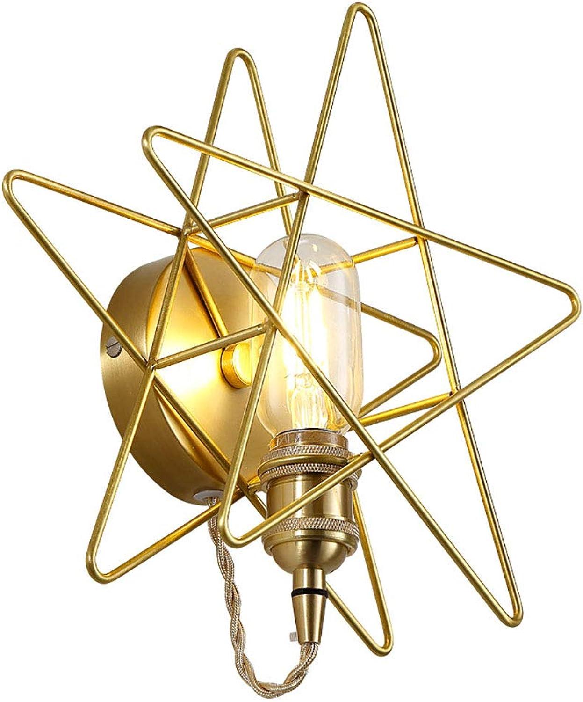 Kreative Stern Dekoration LED Wandleuchten, 1 flammig Moderne Minimalistische Schlafzimmer Nachttischlampe Eisen Wandlampe für Wohnzimmer Flur Café Bar, E27 Sockel