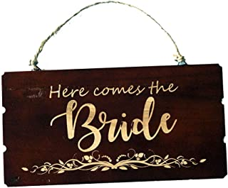 Pongs Rustic Wooden Sign, Here Comes The Bride Sign, Flower Girl Sign, Wedding Decoration Sign