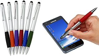 Stylus Pens -2 in1 Capactive Touch Screen with Ballpoint Writing Pen Sensitive Stylus Tip For Your iPad iPhone Samsung Galaxy & All Smart Devices -Silver Barrel - Assorted Colors Comfy Grips, 12 Pack