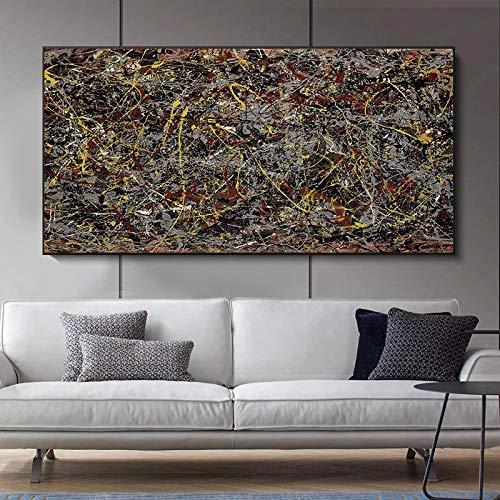 """SIRIUSART Jackson Pollock Famosi Dipinti di Arte Astratta Autunno Pittura su Tela Immagini da Parete per Soggiorno 100x200 cm 40""""x80 (Senza Cornice)"""