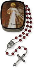 Christian Brands Rose Scented Wood Prayer Bead Rosary in Divine Mercy Case