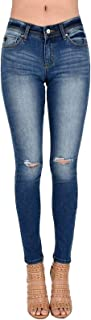 Kan Can Women's Mid Rise Destroyed Skinny Jeans KC7201