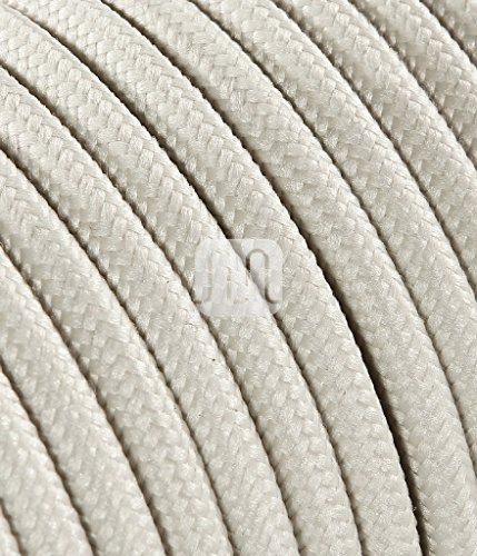 Cable eléctrico redondo revestido de tela de color marfil, 10 metros, 2...
