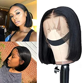Human Hair Bob Wigs Lace Front 13x4 Short Bob Wig Remy Hair Lace Frontal Wigs 150% Density Brazilian Human Hair Short Bob ...