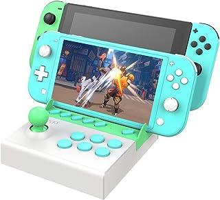 ニンテンドースイッチアーケードファイトスティック、デスクトップポータブルマシンゲームパッド、Nintendo SwitchおよびLite用のストリートファイティングゲームコントローラジョイスティックゲームパッド (緑/白)