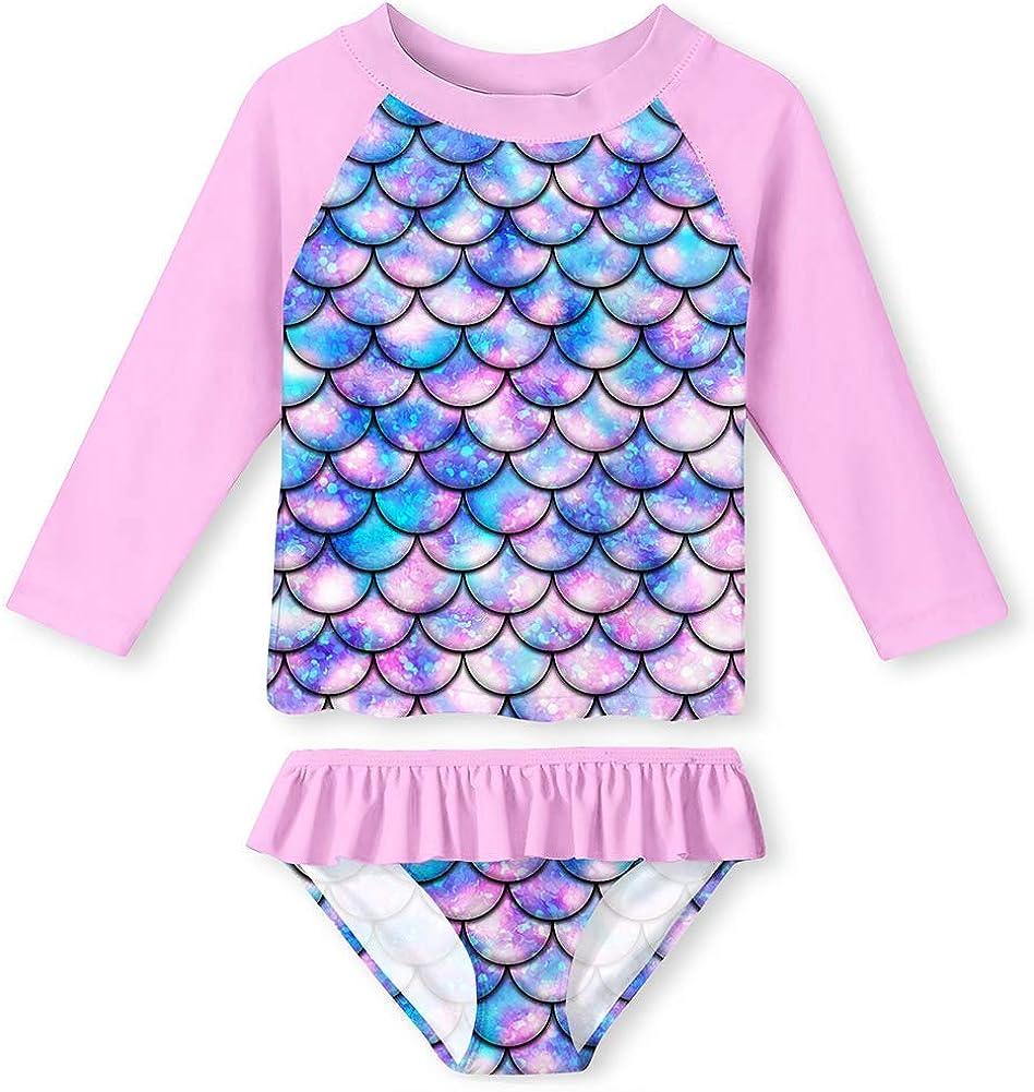 UNIFACO Sacramento Mall Toddler Girls High quality new Swimsuit Rashguard Beach Set Breath Summer