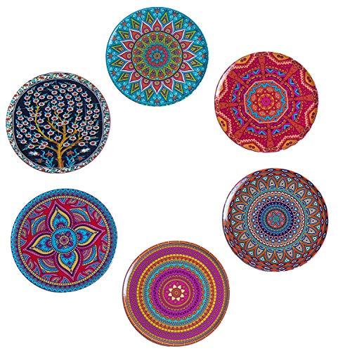 BABEL ARTESANIA Posavasos (Set de 6) - Regalos Originales Decorativos para café, Cocina, uno Drink, Taza, Vino, Tazas, Vasos, Cristal- Juego de mesas, Base Corcho para Mesa de Madera (Vida)