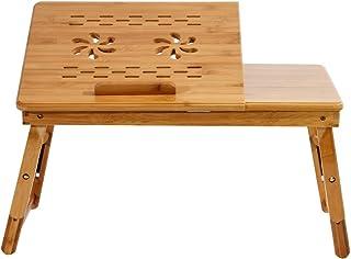 sogesfurniture Mesa para Ordenador portátil de Bambú con inclinación Mesa de Bandejas, Mesa Plegable Laptop Portátiles Ajustable, KS-HSJ-06-BH
