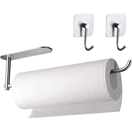 Soporte de pared para toallas de papel de cocina de acero inoxidable 304 con 2 ganchos adhesivos para colgar (sin necesidad de taladrar)
