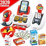 FunzBo Cash Register for Kids Toys - Grocery Store Pretend Play for Girls Boys Toy Cashier Registers with Scanner and Sound, Credit Card Reader, Money - Checkout Game for Kid Age 3 4 5 6 Years Old