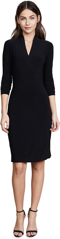 Norma Kamali Women's Long Sleeve Modern Side Drape Dress to Knee Solid