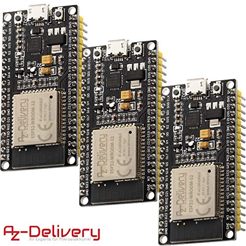 AZDelivery 3 x ESP32 NodeMCU Module WLAN WiFi Development Board mit CP2102 (Nachfolgermodell zum ESP8266) und inklusive E-Book!